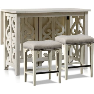 Charthouse Breakfast Bar and 2 Counter-Height Backless Stools - Alabaster