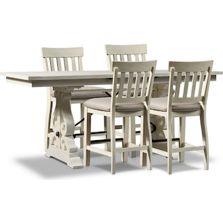 Charthouse Counter-Height Dining Table and 4 Stools - Alabaster