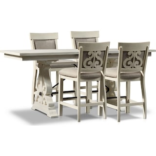 Charthouse Counter-Height Dining Table and 4 Upholstered Stools - Alabaster