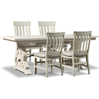 Charthouse Rectangular Dining Table and 4 Dining Chairs - Alabaster