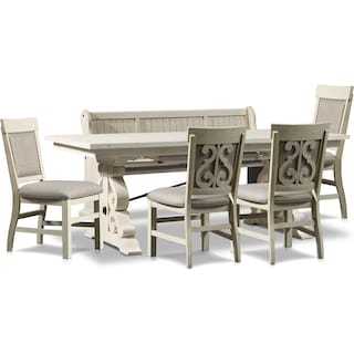 Charthouse Rectangular Dining Table, 4 Upholstered Dining Chairs and Bench - Alabaster