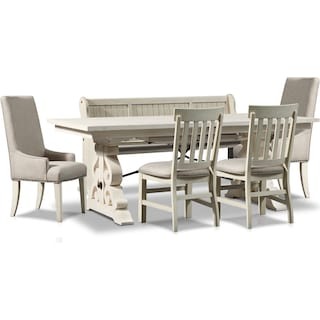 Charthouse Rectangular Dining Table, 2 Host Chairs, 2 Dining Chairs and Bench - Alabaster