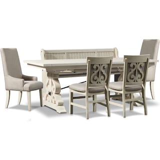 Charthouse Rectangular Dining Table, 2 Host Chairs, 2 Upholstered Dining Chairs & Bench - Alabaster