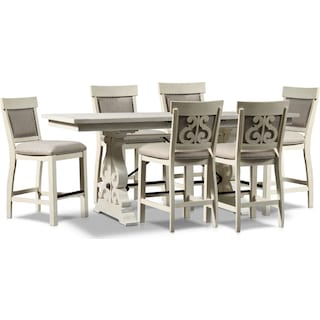 Charthouse Counter-Height Dining Table and 6 Upholstered Stools - Alabaster