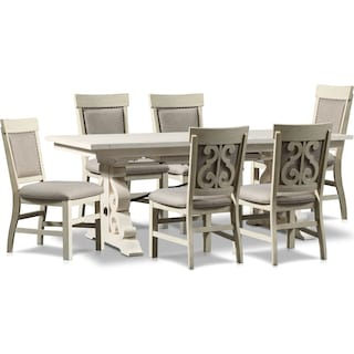 Charthouse Rectangular Dining Table and 6 Upholstered Dining Chairs - Alabaster