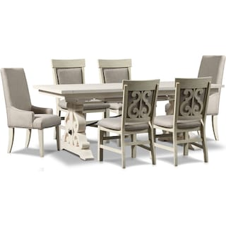Charthouse Rectangular Dining Table, 2 Host Chairs and 4 Upholstered Dining Chairs - Alabaster