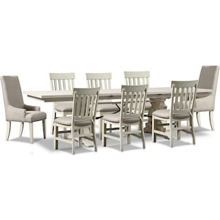 Charthouse Rectangular Dining Table, 2 Host Chairs and 6 Dining Chairs - Alabaster