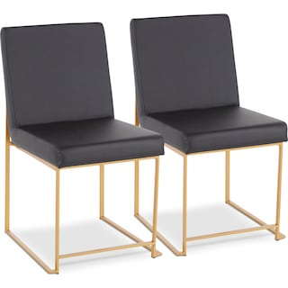 City Set of 2 Dining Chairs - Black Faux Leather/Gold Metal
