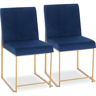 City Set of 2 Dining Chairs - Blue Velvet/Gold Metal