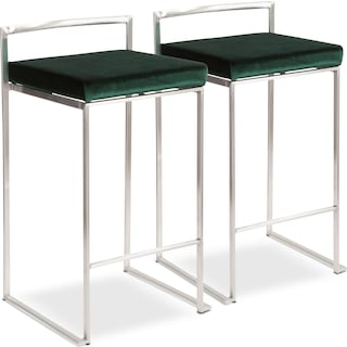 City Set of 2 Counter-Height Stools - Green