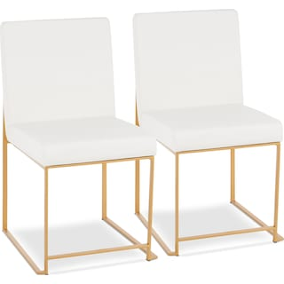 City Set of 2 Dining Chairs - White Faux Leather/Gold Metal