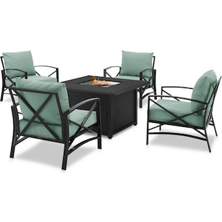 Clarion Set of 4 Outdoor Chairs and Fire Table - Mist