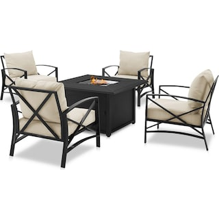 Clarion Set of 4 Outdoor Chairs and Fire Table - Oatmeal