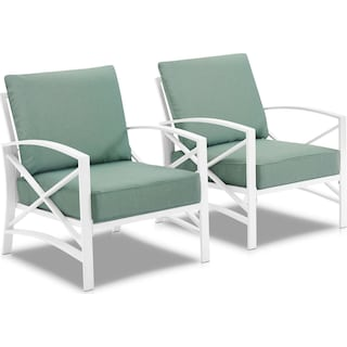 Clarion Set of 2 Outdoor Chairs - Mist/White