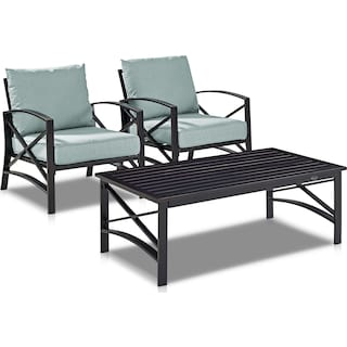 Clarion Set of 2 Outdoor Chairs and Coffee Table - Mist/Bronze