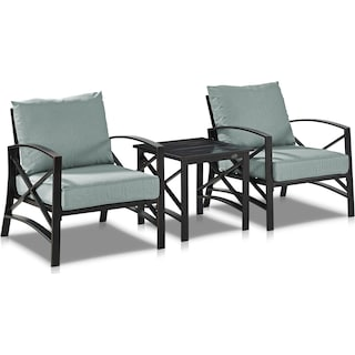 Clarion Set of 2 Outdoor Chairs and End Table - Mist/Bronze
