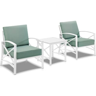 Clarion Set of 2 Outdoor Chairs and End Table - Mist/White