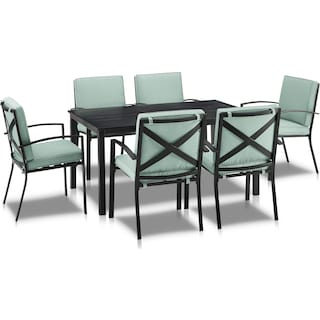 Clarion Outdoor Dining Table and 6 Dining Chairs - Mist