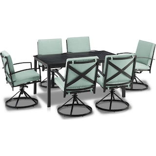 Clarion Outdoor Dining Table and 6 Swivel Chairs - Mist