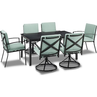 Clarion Outdoor Dining Table, 4 Swivel Chairs and 2 Dining Chairs - Mist