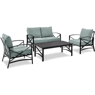Clarion Outdoor Loveseat, 2 Chairs, and Coffee Table Set - Mist/Bronze