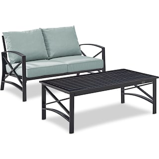 Clarion Outdoor Loveseat and Coffee Table Set - Mist
