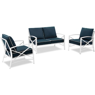Clarion Outdoor Loveseat and 2 Chairs Set - Navy