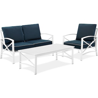 Clarion Outdoor Loveseat, Chair, and Coffee Table Set - Navy