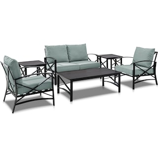 Clarion Outdoor Loveseat, 2 Chairs, Coffee Table and 2 End Tables Set - Mist/Bronze