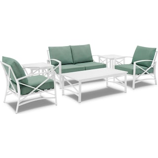 Clarion Outdoor Loveseat, 2 Chairs, Coffee Table and 2 End Tables Set - Mist/White