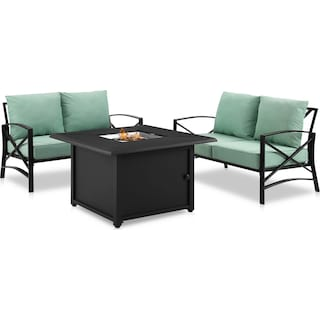 Clarion Set of 2 Outdoor Loveseats and Fire Table - Mist
