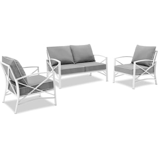 Clarion Outdoor Loveseat and 2 Chairs Set - Gray