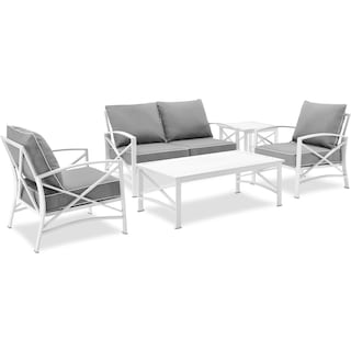 Clarion Outdoor Loveseat, 2 Chairs, Coffee Table, and End Table Set - Gray