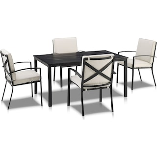 Clarion Outdoor Dining Table and 4 Dining Chairs - Oatmeal