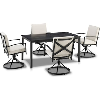 Clarion Outdoor Dining Table and 4 Swivel Chairs - Oatmeal