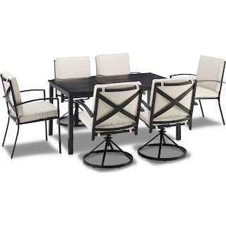 Clarion Outdoor Dining Table, 4 Swivel Chairs and 2 Dining Chairs - Oatmeal