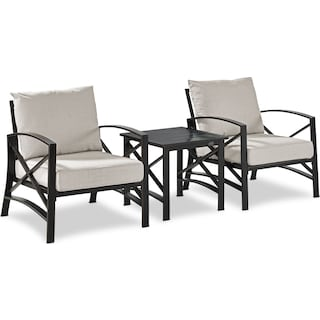 Clarion Set of 2 Outdoor Chairs and End Table - Oatmeal