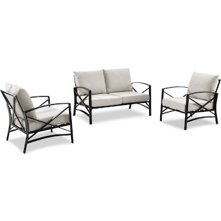 Clarion Outdoor Loveseat and 2 Chairs Set - Oatmeal