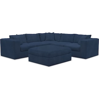 Collin Comfort 5-Piece Sectional and Ottoman - Toscana Navy