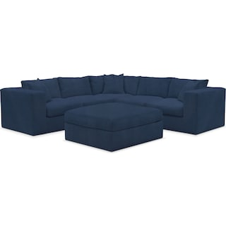 Collin Cumulus 5-Piece Sectional and Ottoman - Toscana Navy