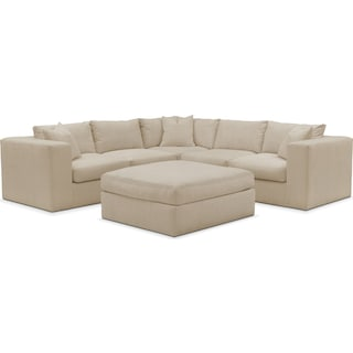 Collin Cumulus 5-Piece Sectional and Ottoman - Depalma Taupe