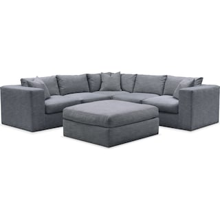 Collin Comfort 5-Piece Sectional and Ottoman - Dudley Indigo