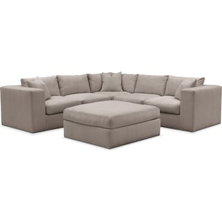 Collin Comfort 5-Piece Sectional and Ottoman - Abington TW Fog