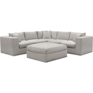 Collin Cumulus 5-Piece Sectional and Ottoman - Dudley Gray