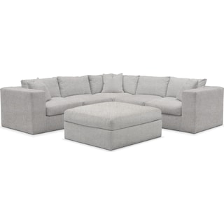 Collin Cumulus 5-Piece Sectional and Ottoman - Everton Gray