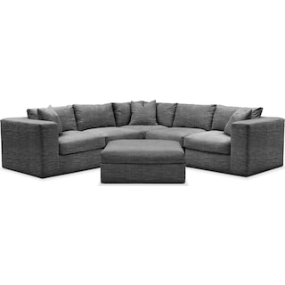 Collin Comfort 5-Piece Sectional and Ottoman - Charcoal