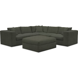 Collin Comfort 5-Piece Sectional and Ottoman - Toscana Olive