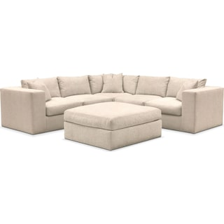 Collin Cumulus Performance 5-Piece Sectional with Ottoman - Halifax Shell
