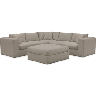 Collin Cumulus Performance 5-Piece Sectional with Ottoman - Benavento Dove