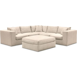 Collin Comfort Performance 5-Piece Sectional with Ottoman - Halifax Shell